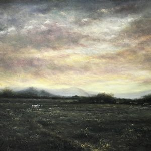 """Code: 20486 Title: """"White Cow in the Green Fields"""" Size: 23x29in Medium: Oil on Canvas"""