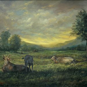 Code: 20910   Title: Resting Cows   Size: 30.5 in x 40 in    Medium: Oil on Canvas   Year: 2018