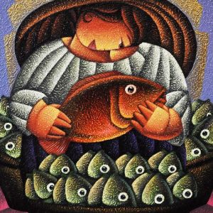 Code: 19649 Title: Fish Vendor Size: 24x18in Medium: Acrylic on Canva