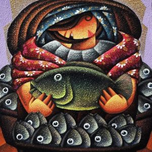 Code: 19650 Title: Fish Vendor Size: 24x18in Medium: Acrylic on Canvas