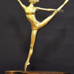 "20334 Ballerina 11""lx 4""w x 14""h Brass on Wood Base"