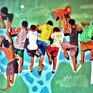 Code: 21564 Size: 36x42in Title: Bayanihan sa Pag-Akyat Medium: Oil on Canvas Year: 2018