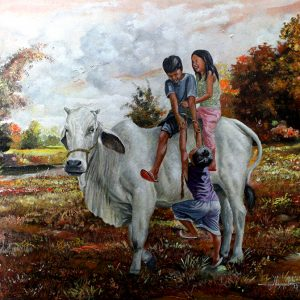 Code: 19351 Title: Coco's Back Riding Size: 18x30 Medium: Year: 2017