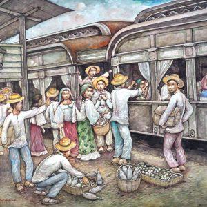 Code: 11972 Title: All Aboard For Manila (Dagupan Railway Station) Size: 30 x 24 in Medium: Acrylic on Canvas