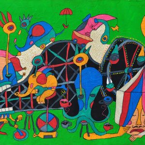 Code: CSR 027 Title: Fairground Size: 24 x 36 in Medium: Acrylic and Pen and Ink on Canvas Year: 2018