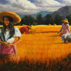 Code: 17947 Title: Rice Harvest Size: 24x72in Medium: Oil on Canvas