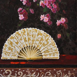 Code: 18141 Title: Abanico & Bouganville Size: 32x22in Medium: Acrylic on Canvas