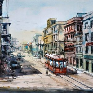Code: 23118 Title: Southend of Rizal Avenue Size: 11 x 17  in Medium: Watercolor on Paper Year: 2019