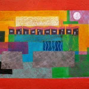 Code: CR002 Title: Paint the Town Red Size: 24 x 48 in Medium: Mixed Media on Wood Panel