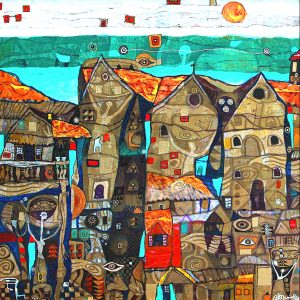 """""""The Reality of the Red House""""  48 in x 48 in"""